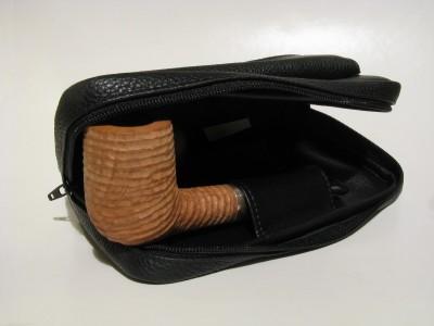Lanzola Trousse 2 pipe e tabacco - Nero Bottalato